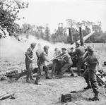 British 4.5 inch gun and crew of 211 Battery, 64th Medium Regiment, Royal Artillery in action near Tilly-sur-Seulles, France, 13 Jun 1944