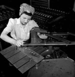 Female worker at the John Inglis and Company factory for Bren guns in Toronto, Canada, 1940s