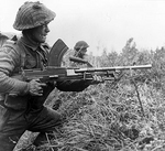 A Bren gunner of the United Kingdom 8th Royal Scots at Moostdijk, Netherlands, 6 Nov 1944