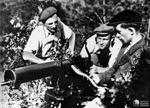 Men of Polish resistance group Jedrusie operating a Ckm wz.30 machine gun, a clone of the Browning M1917 machine gun, date unknown