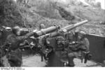 German paratroopers manning a 7.5 cm Flak 264/3(i) anti-aircraft gun, San Felice Circeo, Italy, 26 Dec 1943, photo 1 of 6