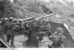 German paratroopers manning a 7.5 cm Flak 264/3(i) anti-aircraft gun, San Felice Circeo, Italy, 26 Dec 1943, photo 2 of 6