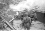 German paratroopers manning a 7.5 cm Flak 264/3(i) anti-aircraft gun, San Felice Circeo, Italy, 26 Dec 1943, photo 3 of 6