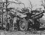 155 mm Howitzer Carriage M1917 or M1918 howitzer and crew in exercise, Fort Sill, Oklahoma, United States, Apr 1943
