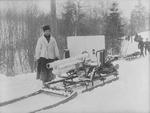 Ehrhardt 7.5 cm field gun on sled transport during exercises, Norway, 1904, photo 1 of 2