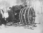 Ehrhardt 7.5 cm field gun on sled transport during exercises, Norway, 1904, photo 2 of 2