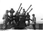German Flakvierling 38 anti-aircraft gun mounted on top of a flak tower, Germany, 1943, photo 2 of 2