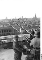 German Flakvierling 38 anti-aircraft gun atop a flak tower in Berlin, Germany, date unknown