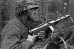 Finnish soldier with KP/-31 submachine gun during Battle of Vuosalmi, Karelian Isthmus, Finland, 23-24 Jul 1944