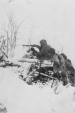 Finnish soldiers fighting in wintry terrain, 1940s