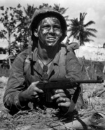 US Marine Gill A. Gideon, Jr. with M1 Carbine on Guam, Mariana Islands, 21 Jul 1944