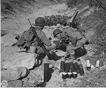 US Army troops training with 81mm M1 mortar, Camp Carson, Colorado, United States, 24 Apr 1943; note M1 Carbine