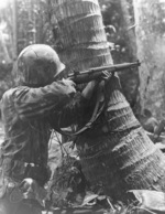 US Marine with M1 Garand rifle on Bougainville, Solomon Islands, 1943-1945