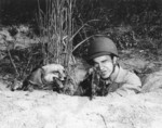 US Marine Private Harry Weber in exercise with his pet fox Rusty, Quantico, Virginia, United States, 14 Oct 1943