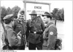 German paramilitary and border guard troops, Berlin, East Germany, 14 Aug 1961; note paramilitary personnel with Kar98k rifles