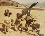Chinese soldiers posing with a Type 24 machine gun in an anti-aircraft setup, date unknown, photo 1 of 2