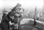 Soviet anti-aircraft machine gun atop Hotel Moskva in Moscow, Russia, date unknown