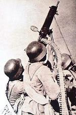 Chinese anti-aircraft crew with a Type 24 machine gun, date unknown