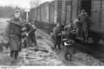 German soldier disembarking a train, Belgium or France, 1943-1944