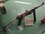 MP 40 submachine gun on display at the West Point Museum, United States Military Academy, West Point, New York, United States, 22 Sep 2007