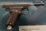 Nambu Type 14 pistol on display at the West Point Museum, United States Military Academy, West Point, New York, United States, 22 Sep 2007