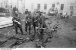 German SS troops in a barracks in Budapest, Hungary, Oct 1944; note Panzerfaust and other weapons