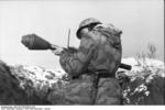 German soldier with Panzerfaust, southern Ukraine, Dec 1943-Jan 1944, photo 1 of 2