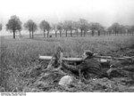 German Volkssturm soldier with Panzerschreck launcher, near Berlin, Germany, late Apr 1945