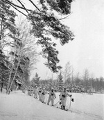 Soviet ski troops on patrol, Russia, 26 Dec 1941; note PPSh-41 submachine guns