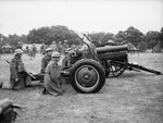 Ordnance QF 4.5 inch Howitzer and its New Zealand Expeditionary Force crew during an inspection by King George VI at Burley in the New Forest, Hampshire, England, United Kingdom, 6 Jul 1940