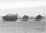 British Dragon light artillery tractor towing an Ordnance QF 4.5 inch Howitzer, circa 1933
