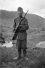 Hungarian soldier with Steyr-Mannlicher M1895 rifle in the Carpathian Mountains, 1940
