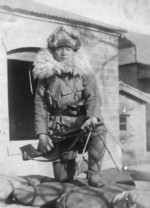 Japanese Army soldier with Type 11 machine gun and winter gear, date unknown