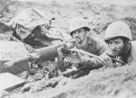 US Marines operating a captured Japanese Type 92 machine gun, Iwo Jima, Japan, Feb 1945