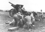 Type 96 15 cm howitzer in action, date unknown