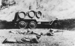 Japanese troops with an armored car and a Type 96 machine gun, date unknown