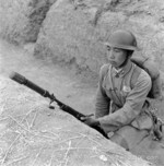 Chinese soldier with a ZB vz. 24 rifle with rifle grenade launcher, circa 1930s