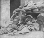 ZB vz. 26 light machine gun team of Chinese 87th Division at a barricade in the street of Shanghai, China, Sep-Oct 1937, photo 2 of 2